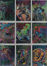 MARVEL UNIVERSE SERIES 5 1994 SET OF 9 COLOUR POWERBLAST CARDS
