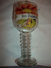 Uralter Römer-Pokal-Glas-Abriss bemalt 22cm um 1840-60