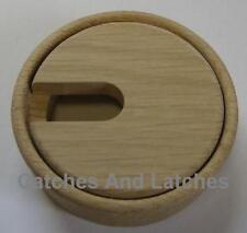 80mm Wooden Desk Table Cable Tidy Port Hole Outlet Grommet Unfinished OAK