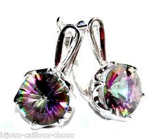 Boucles d'oreilles dormeuses Argent massif 925 Topaze Mystique bijou earring