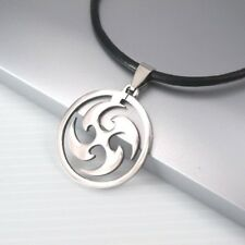 Silver Japanese Shuriken Ninja Weapon Pendant Mens Black Leather Necklace Cord