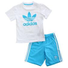 Adidas Baby Kids Summer Trefoil Set Jogger Pants Shirt White Turquoise Blue 6