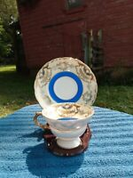 VINTAGE Royal Sealy JAPAN, gold & blue fine china Tea Cup and Saucer