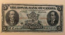 1913 $5 five dollars Royal Bank of Canada