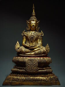 ANTIQUE BRONZE MEDITATING CROWNED RATTANAKOSIN BUDDHA. TEMPLE RELIC 18/19th C