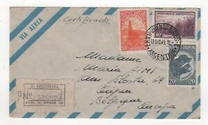 1949 ARGENTINA Registered Air Mail Cover BUENOS AIRES to EUPEN BELGIUM
