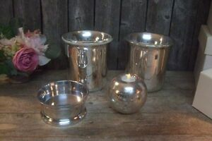 4 Retired NEW Pottery Barn Mercury Glass Silver Pillar Candle Holders Lot