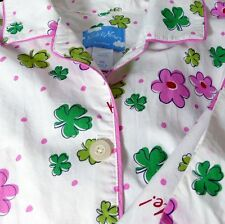 Nick and Nora Kiss Me Shamrock Pajamas Top Med PJs White Lightweight Green PInk