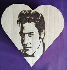 Wooden Pyrography Elvis Heart Shaped Box