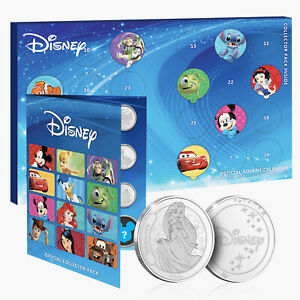 Official Disney Advent Calendar 2021 For Kids & Adults Collectable Silver Coins