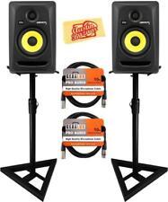 KRK Rokit 5 G3 Studio Monitor Speaker Bundle with Two Monitors, Stands, XLR...