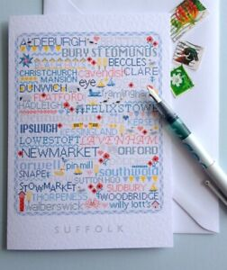 SUFFOLK Large A5 Greetings-Letter Card Cross Stitch Sampler Design