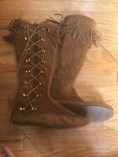 Vintage Brown Leather Indian Moccasins Side Lace Fringe Boots size 8