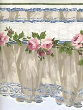 VICTORIAN BLUE TAUPE, AND WHITE VALANCE PINK ROSES SCULPTURED WALLPAPER BORDER