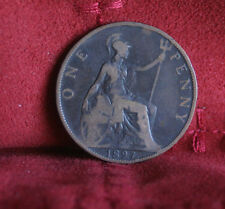 1897 Great Britain 1 Penny Bronze World Coin Britania Seated KM790 UK England