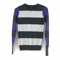AQUA Womens Crew Neck Sweater Size XS Color-Block Long Sleeve Cotton Pullover