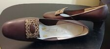 "Vintage Brown Leather w/Gold Buckle at Toe 1 3/4"" Broad Heel 10 B Women's Pumps"