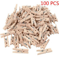 AM_ 100PCS Mini Wood Pegs Craft Hanging Photo Small Clips Wooden Tiny Art Clip h