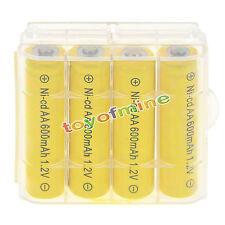 4 AA Batteries NiCd 600mAh 1.2v Garden Solar Ni-mh Light Nimh Lamp +1pcs Case