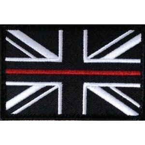 Thin Red Line Union Jack Hook Fastener Backed Badge Patch (Small) Fire & Rescue