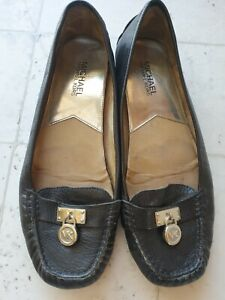 Black leather Michael Kors Women's Shoes Flats Silver  Luggage  Size 9
