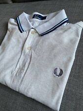 Fred Perry Light Grey Polo Shirt M1200 Twin Tipped Small Mod Ska Skins Casuals