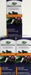 3 Bottles Sambucus Standardized Elderberry Sugar Free Syrup 360 ml immune health