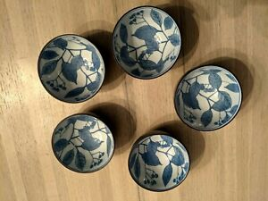 Lot 5 vintage KOTOBUKI Japanese leaf Bowls for tea rice sushi in cool wood box