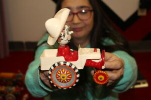 Antique Vintage Marx ? Cowboy Car Wind Up Metal Toy WORKS