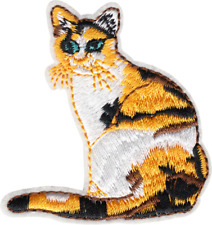 "Patch - Calico Cat Green Eyes Kitten Kitty Pet Animal Cute 3.25"" Iron On #20313"