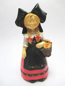 Alsace Costume Girls Poly Figurine 5 1/2in Souvenir France Alsace