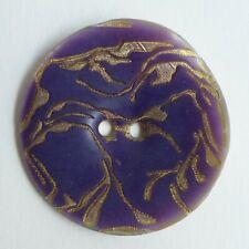 Bouton ancien - Nacre teinte - Décor gravé - 33 mm - Dyed & Etched Shell button