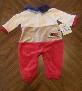 Okie Dokie Infant Boy Romper 3-6 Months Let It Snow Reindeer Cream Red NEw!
