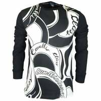 Cavalli Class Cotton All Over Logo Thin Black Sweatshirt