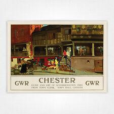 Poster Vintage Ferrocarril de cartel viaje-A4-Chester filas