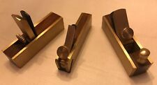 """Set (3) Of Mini Precision Brass And Wood 3"""" L Planes"""