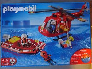 playmobil pompiers ,bateau ,hélicoptère ,4428 ,en boite