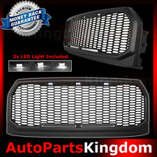 15-17 F150 Raptor Style Matte Black Package Mesh Grille+Shell+White LED light