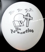 12 BAUTIZO GLOBOS PARTY FAVOR DECORATION WHITE BALLOONS BAPTISM RECUERDOS