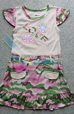 MädchenSommer Kleid Sommerkleid Baumwollmischung Beige Army-Look Gr.116-128 NEU