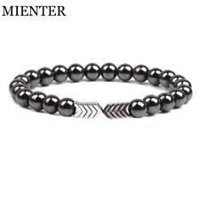 Silver Arrow Hematite Chakra Stone Bead Bracelet Men's Therapy Jewelry Luck Gift