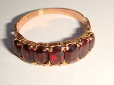 9ct Gold Seven Stone Garnet Band Ring UK Size J.1/2
