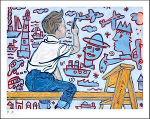 "DAVID BROMLEY ""Young Artist (Boy)"" Printers Proof Print PP 24cm x 30cm"