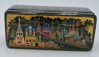 Kholui Village Blistatelny Mir Russian Miniature Lacquer Black Trinket Box COA