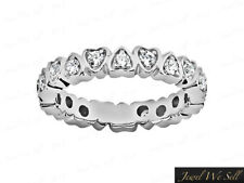 0.60Ct Round Diamond Heart Wedding Eternity Band Ring 10k White Gold H SI2 Prong