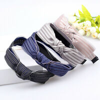 AM_ AM_ Women Fashion Stripe Print Bowknot Teeth Hair Hoop Headband Headwear New