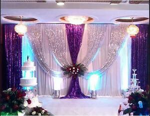 LB 20x10FT Pleated Wedding Backdrop Curtain Background Decor Sparkly Sequin Swag