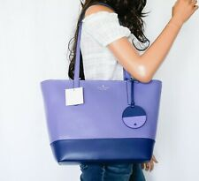 Kate Spade Briel Large Smooth Leather Shoulder Tote Bag Purple Blue