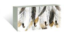 4 Hook Metal Wood Key Rack Holder Feather Hanging Art Home Décor *20 cm*