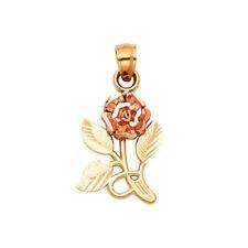 Flower Diamond Cut Necklace Charm Women 14K Solid Yellow Gold Rose Pendant -